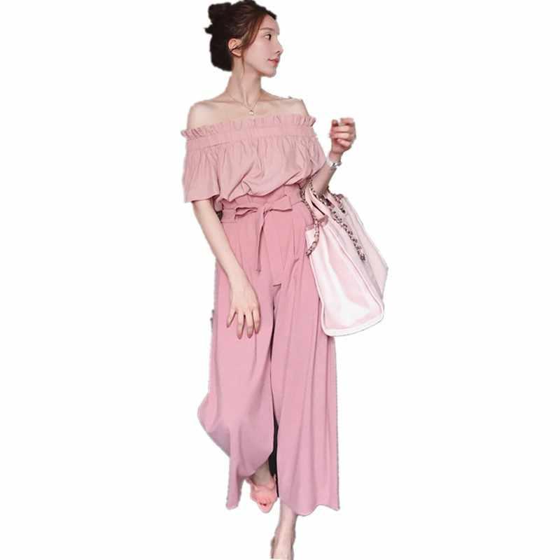 חדש אופנה באיכות גבוהה ורוד נשים של סטי מכתף חולצה נשים שיפון רחב רגל מכנסיים מזדמן שתי חתיכה להגדיר חולצות ומכנסיים