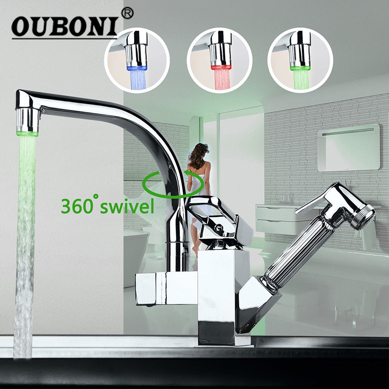 LED Chrome Brass Kitchen faucet Mixer Tap Kitchen Tap Pull Out & Swivel Two Function Spout Water Basin Sink Mixer Tap Faucet chrome kitchen sink faucet solid brass spring two spouts deck mount kitchen mixer tap