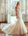 Loverxu Designer Capela Trem Sexy Strapless Lace Mermaid Vestido de Noiva 2016 Apliques Beading Vestido de Noiva Trompete vestido de Noiva