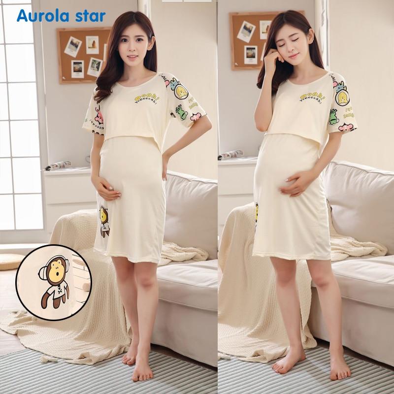 Pajamas Nursing Breastfeed Maternity Dress Pregnant Sleepwear Bear Breastfeeding For Pregnant Women Cute Cartoon Print Dresses