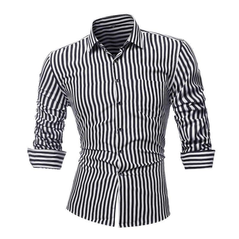 ceb49205f3d 2018 Новый Для мужчин рубашка в полоску Одежда с длинным рукавом мужская  одежда Camisa Masculina сезон