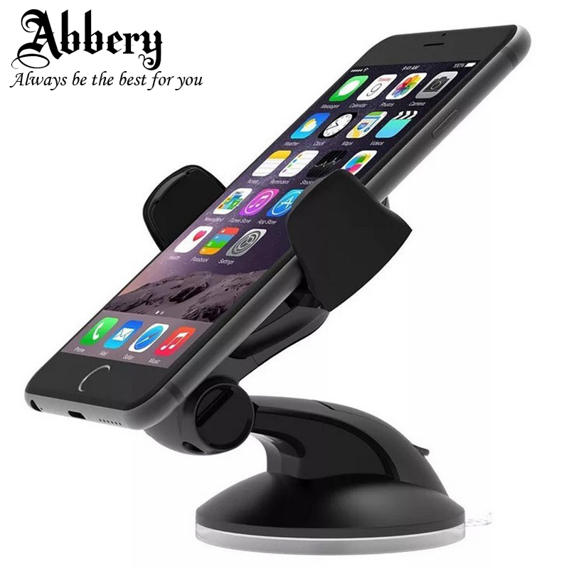 Abbery Car Phone Holder Stand 360 Adjustable Rotate For iPhone 8 6S 7 Plus Universal Mobile Car Truck Windshield Suction Holder