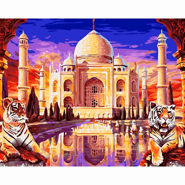 Taj Mahal Tiger Framed Diy Painting By Numbers Coloring Paint By