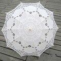 Paraguas de Sol de moda de Algodón Bordado Novia Paraguas Blanco de Marfil Del Cordón de Battenburg Paraguas del Parasol de La Boda Decoraciones