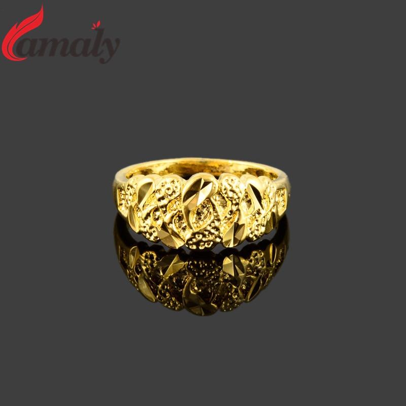 Dubai Golden Finger Rings Women\'s Pure Gold Color Engagement Ring ...