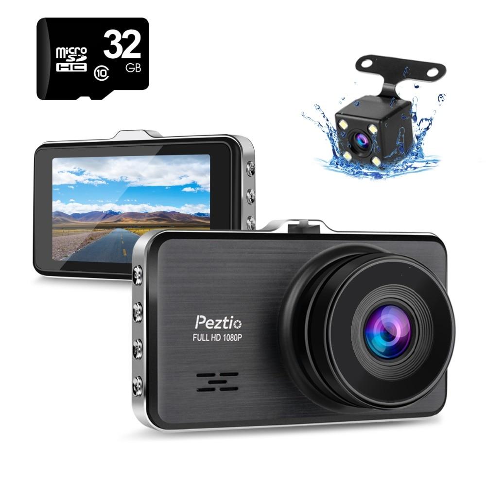 Peztio Car DVR Full HD 1080P Cam Night Vision Dual Dash Cam 170