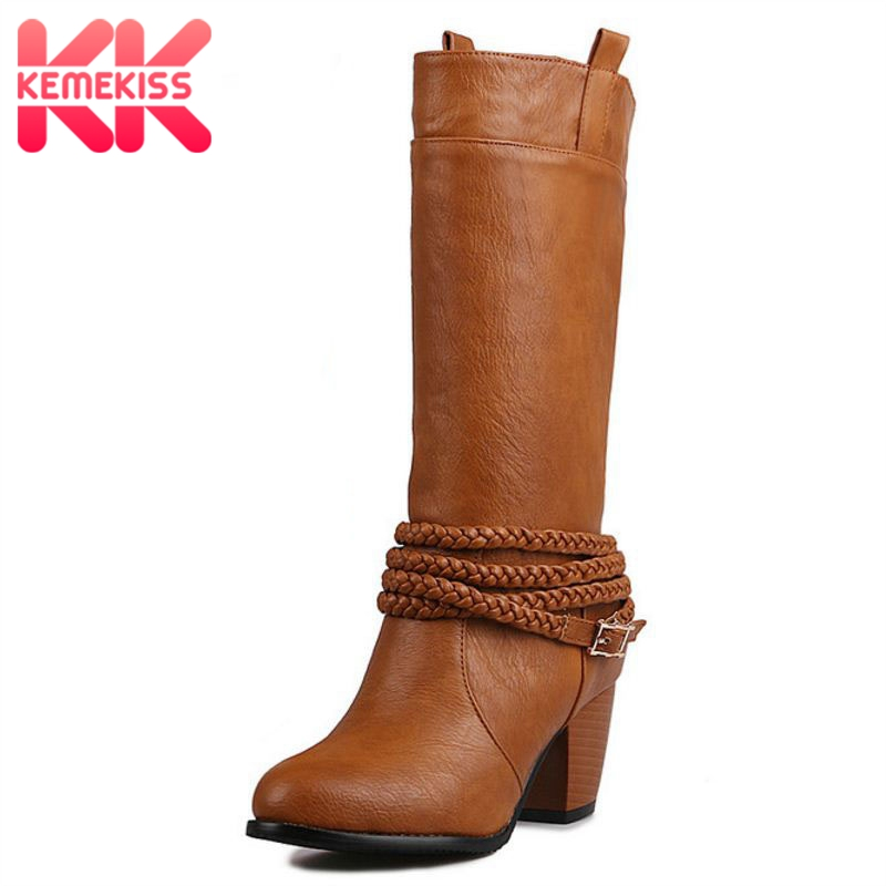 KemeKiss Plush Size 32-47 Women High Heel Boots Half Short Woman Boots Thick Heels Metal Buckle Retro Fashion Short Winter Boots цена