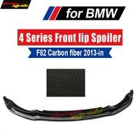 True arbon Fiber Front Bumper Lip Spoiler Chin For 4 Series F82 F83 M4 2 Door F80 M3 Sedan 4 Door 2013 18 AEV Style Front Bumper
