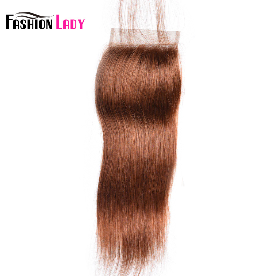 Fashion Lady Pre-Colored Brazilian Hair Brown Lace Closure Size 4*4 Inch #30 Straight Human Hair Closure Non-Remy