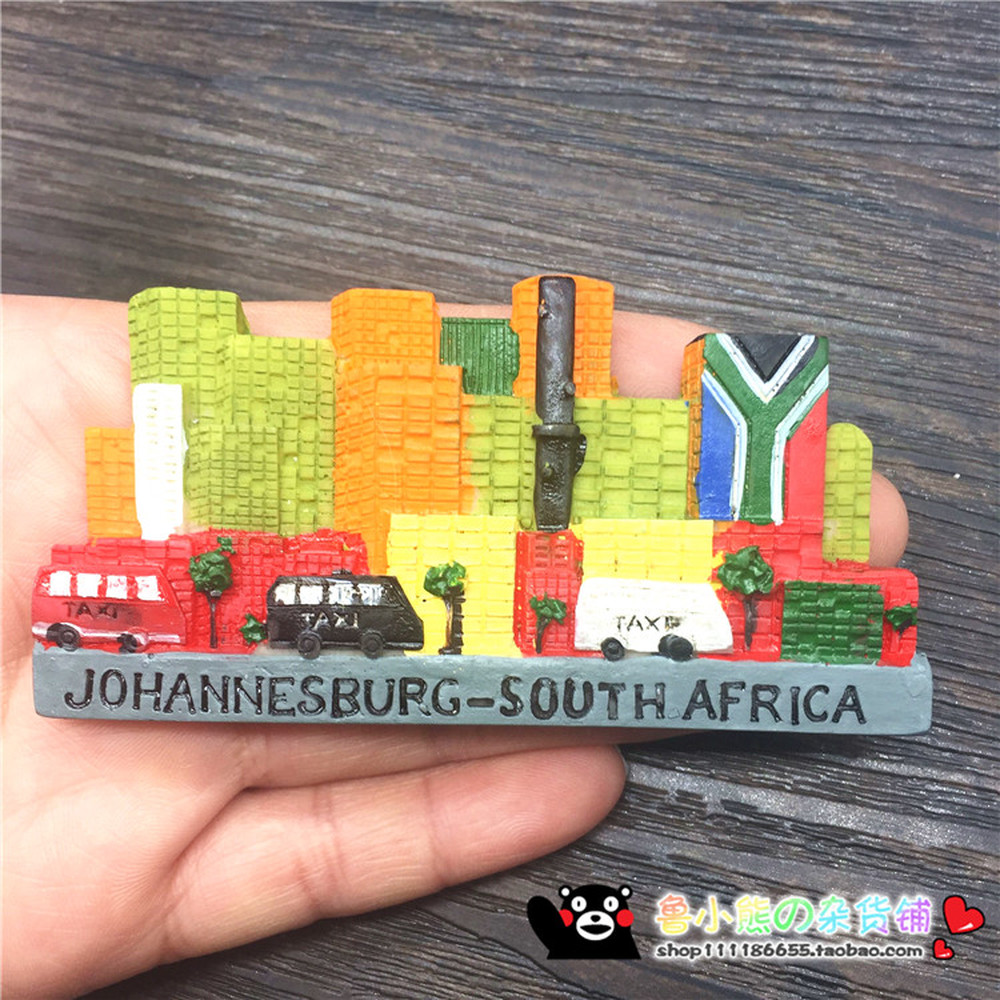 New south africa johannesburg 3d resin fridge magnets tourist souvenirs refrigerator magnetic stickers home decoration in fridge magnets from home garden