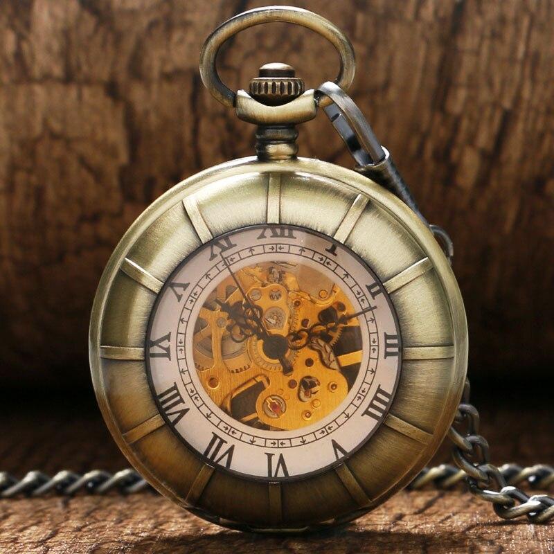 Luxury Mechanical Pocket Watches Double Open Design Vintage Pendant Clock Hand Winding Watch Men Women 2017 Best Gifts With Bag
