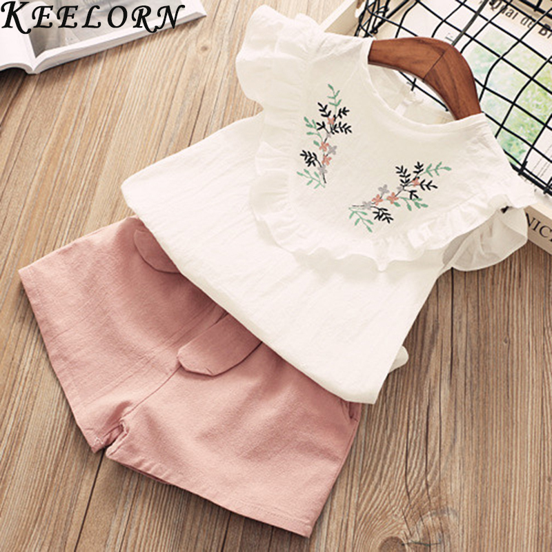 Girls Clothing Set Summer Baby Clothes Pink Top Ruffle Bandage Pant