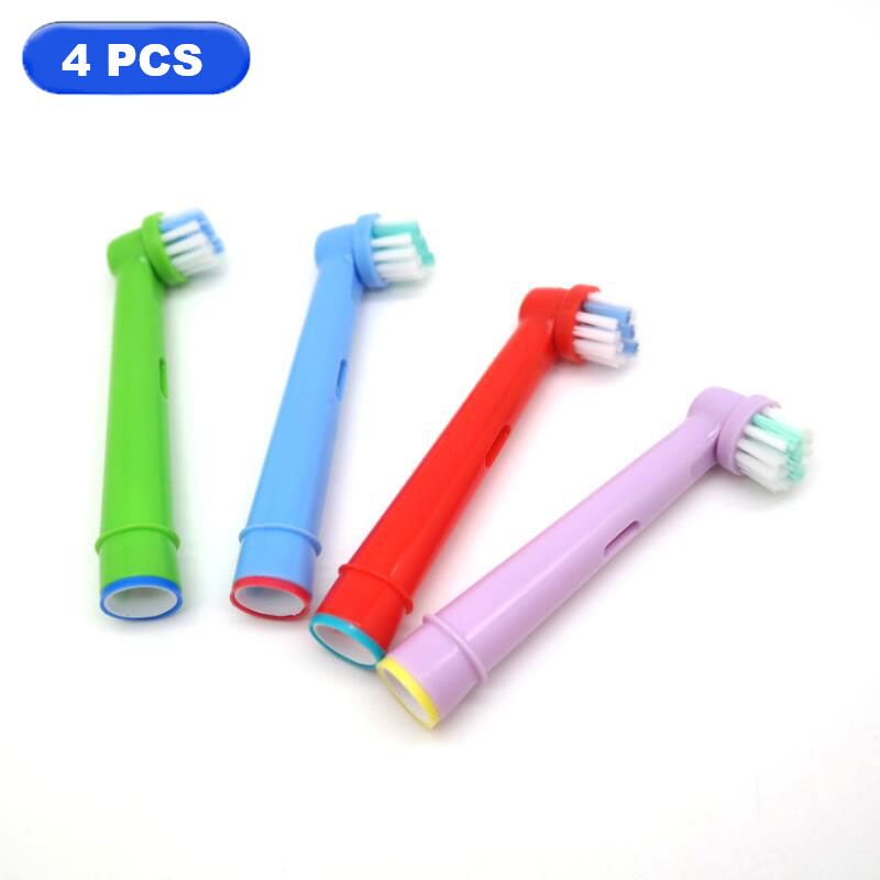 4pcs/lot Colorful Soft Electric Children Toothbrush Heads for Oral B SB-17A FOR A TOOTH-BY-TOOTH Precision Clean 4pcs sb 17a replacement toothbrush heads for oral b precision clean brush removes 400