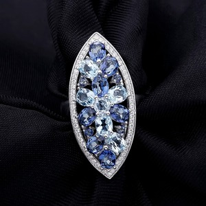 Image 3 - Gems Ballet Natural Sky Blue Topaz Mystic Quartz Iolite Blue Rings Real 925 sterling silver For Women Wedding Engagement Ring