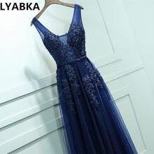 54e02e337 2018 vestidos de baile Stock azul marino A-line Prom dresses vestido de  noche v-cuello largo barato elegante appliques vestido d.
