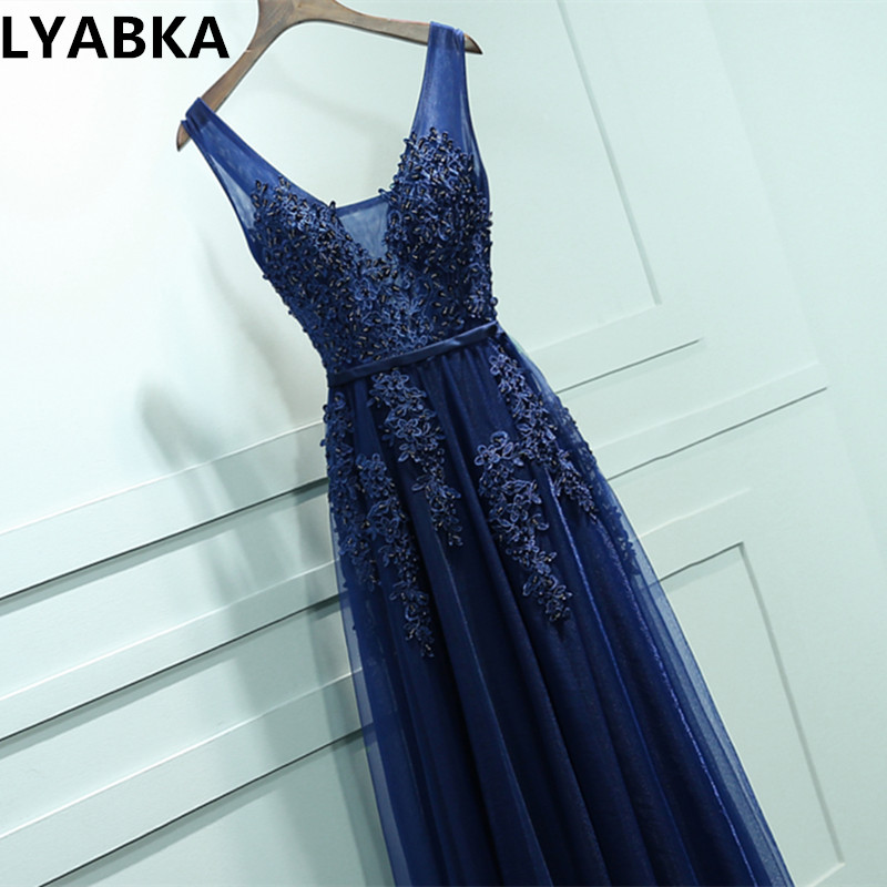 2019 vestidos de baile de azul marino vestido vestidos de baile vestido de noche con cuello en V elegante barato largo apliques vestido de baile de graduación