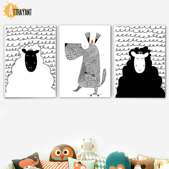 Cartoon Black White Alpaca Sheep Dog Wall Art Canvas Painting Nordic Posters And Prints Wall Pictures Kids Room Nursery Decor
