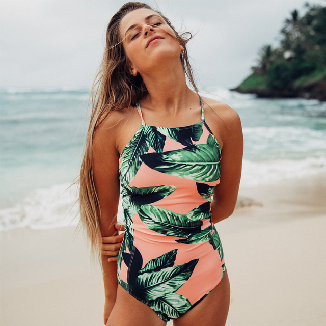 Sexy One Piece Swimsuit Women Swimwear Print Bodysuit