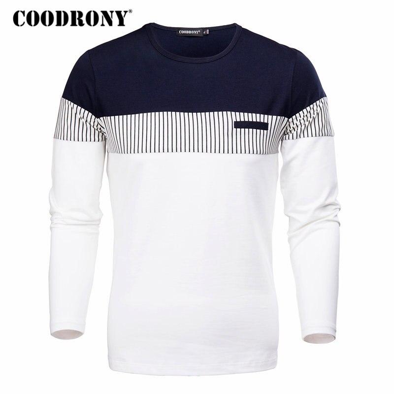 COODRONY T-Shirt Männer 2018 Frühling Herbst Neue Lange Hülse O-ansatz T Hemd Männer Marke Kleidung Mode Patchwork Baumwolle T Tops 7622