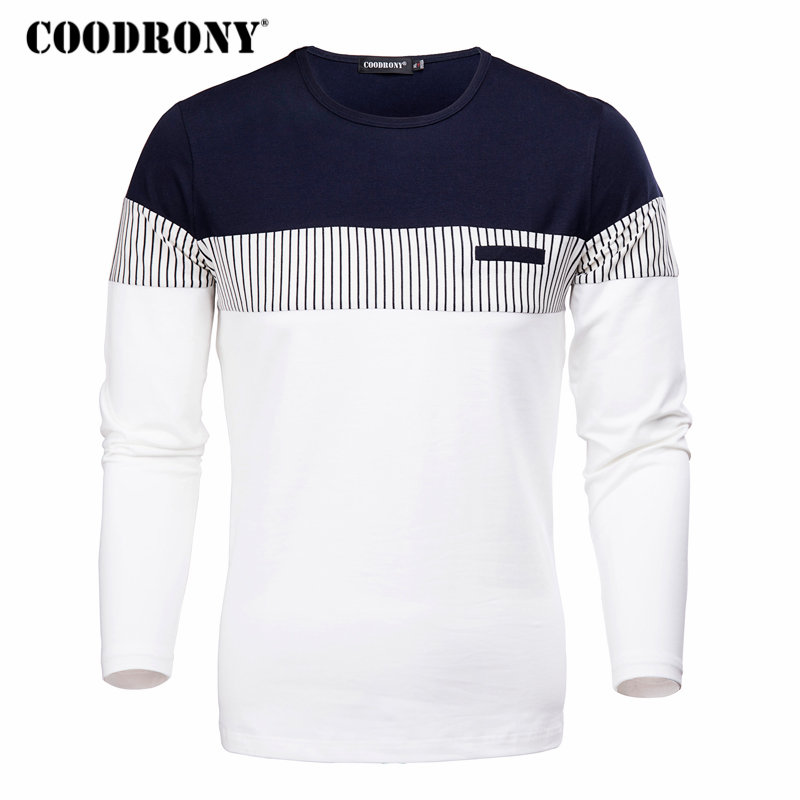 COODRONY T-Shirt hombres 2018 primavera otoño nueva manga larga o-cuello camiseta hombres marca ropa moda Patchwork algodón Tops 7622