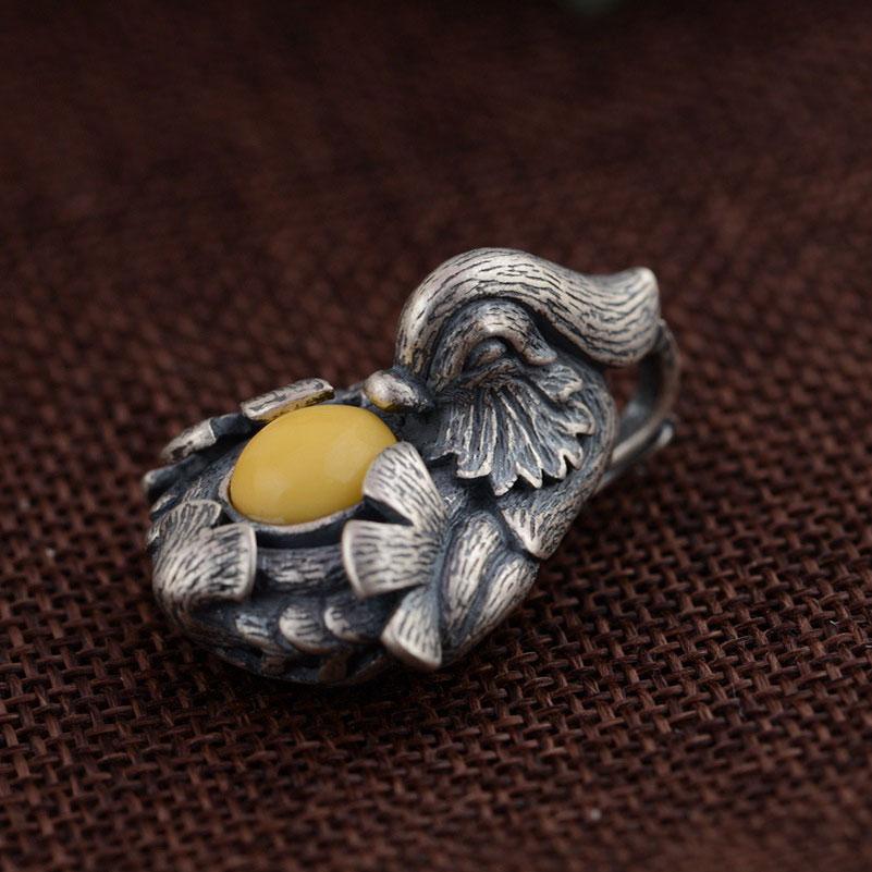 FNJ 925 Silver Bird Pendant New Fashion mandarin duck 100 Pure S925 Solid Thai Silver Pendants