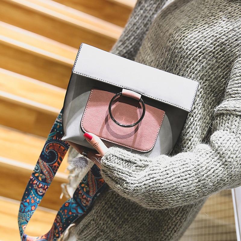 2017 Small Crossbody Bags For Women Designer Handbags Brand Brown Ring Bag Flap Leather Female Strap Shoulder Bag Messenger Bags