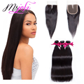 7A Brazilian Straight Hair With Closure 3 Bundles with Closure 100% Human Hair Bundles With Closure Brazilian Hair With Closure