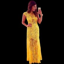 2018 New Trendy Ladies Special Occasion Party Gown Lace To Income Evening Long Yellow Made