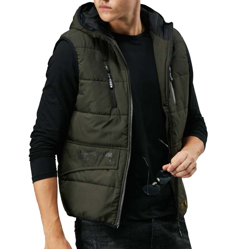 Otoño invierno cálido chaleco con capucha hombres prendas de vestir chaleco Casual chaqueta sin mangas abrigo Chaleco de poliéster ropa masculina