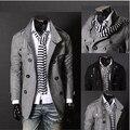 Британский стиль воротник-стойка и двубортная шерсть пальто мужчины в одежда приталенный fit jaqueta masculina / ndy17