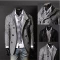 Inglaterra gola e dupla breasted casaco de lã homens slim fit jaqueta masculina / ndy17