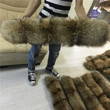 Натуральный меховой воротник для парки пальто роскошный Теплый натуральный енот шарф женские Большие меховые шарфы мужские куртки 60 см 65 см 70 см 75 см