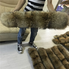 100% Real Fur Collar For Parkas Coats luxury Warm Natural Raccoon Scarf Women Large Fur Scarves Male Jackets 60cm 65cm 70cm 75cm
