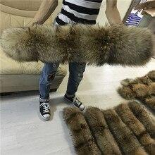 100% véritable col de fourrure pour Parkas manteaux de luxe chaud naturel raton laveur écharpe femmes grandes écharpes de fourrure hommes vestes 60cm 65cm 70cm 75cm