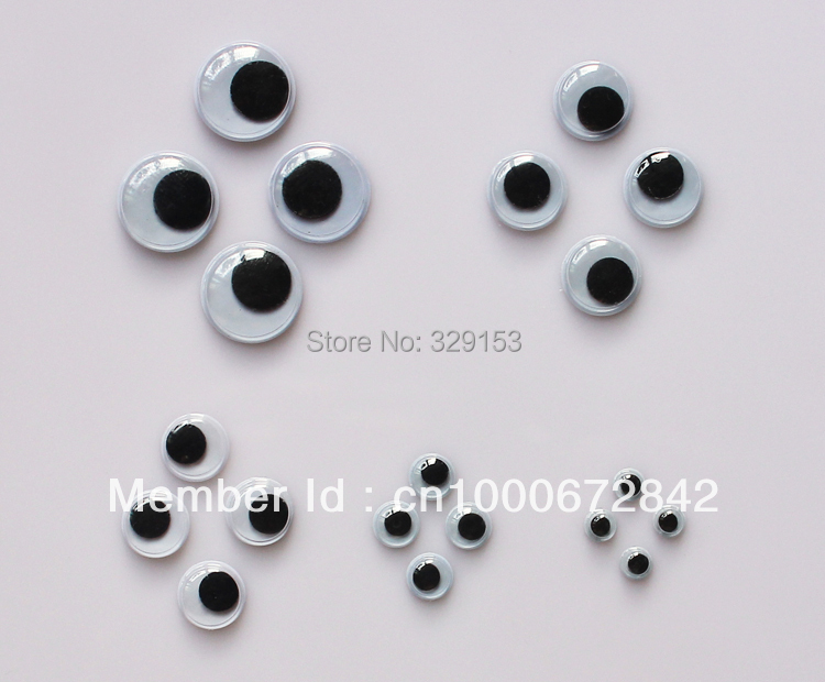 wholesale mixed 5mm 7mm 10mm 12mm 15mm roundMovable Eye Plastic Eyes Wiggle Eyes forDoll Toy diy