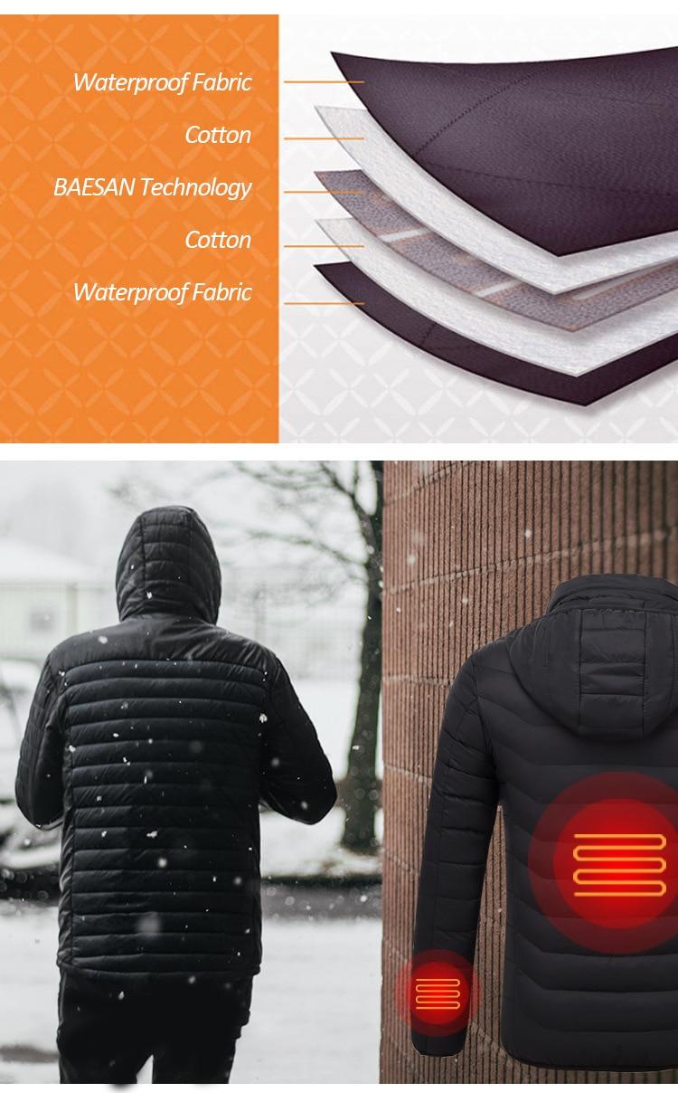 Men's USB Heating Electric Winter Jacket 9