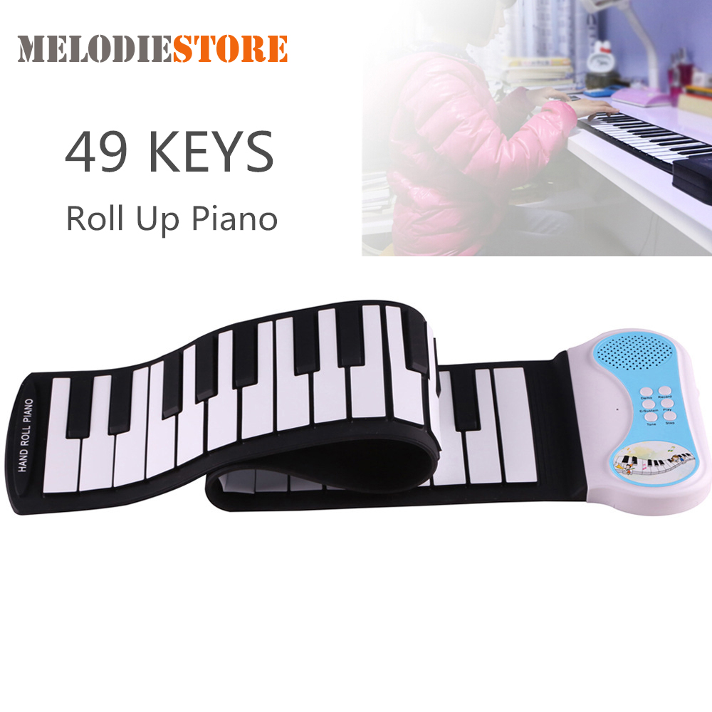 Professional 49 Keys Silicon Flexible Hand Roll Up Piano Portable Electronic Keyboard Organ Musical Instrument Gift For Children