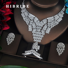 HIBRIDE Luxury Design Sparkling AAA Cubic Zirconia Pave Women Jewelry Sets Wedding Bride Dress Accessories Wholesale