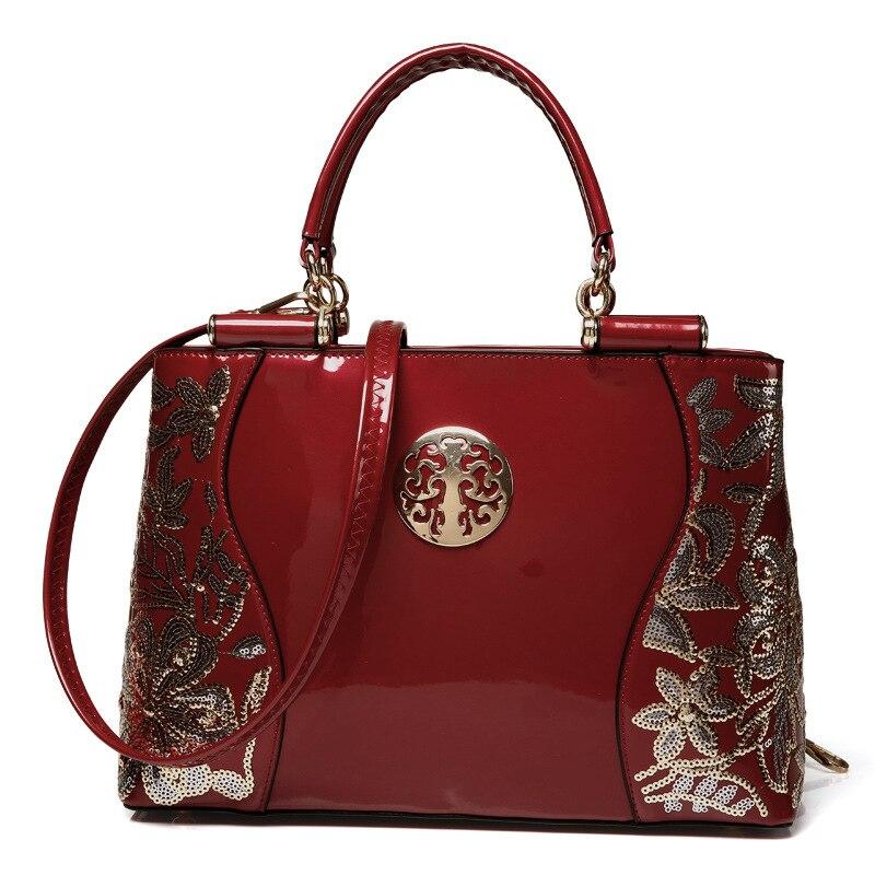 Luxury Brand Women Embroidery Handbag Famous Designer High Quality Ladies Fashion Patent Leather Tote Bag Shopping Crossbody Bag