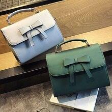 Girls Cute Bowknot Pure Color Top-bag Shoulder Bag woman Leather Bags Mini Crossbody bags