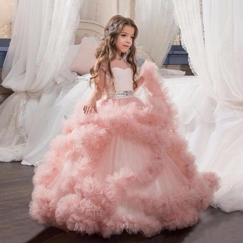 2018 new Girls Prom Party Princess Dress Elegant Flower Girl Long Dresses Children s day Wedding