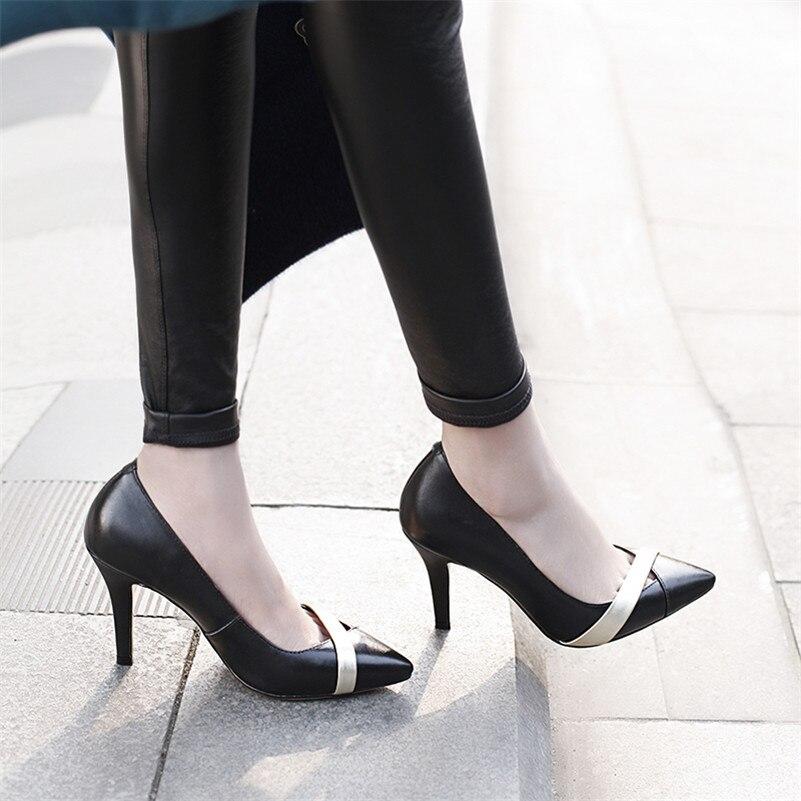 Noir Partie Automne Nouvelle Talons Chaussures Pointu Classique Bout Haute Printemps En Femme Danse Véritable Arrivée Cuir rouge Conasco Pompes Femmes Uqxwaadz