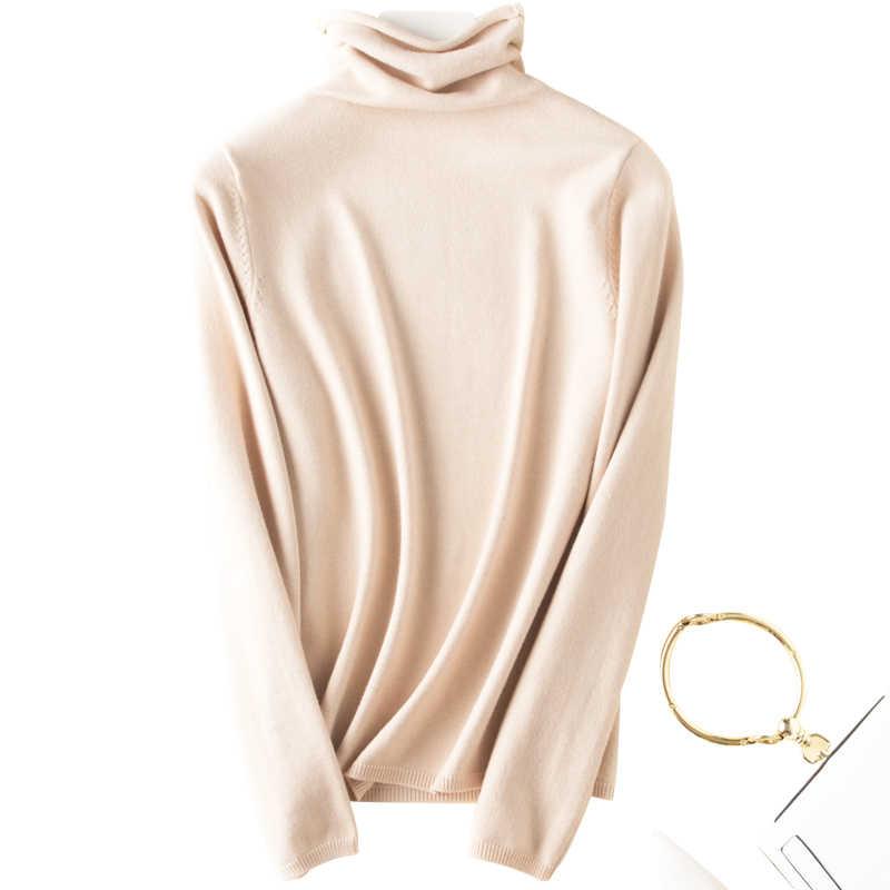 Penjahit Domba Kasmir Sweater Wanita Kasual Lengan Panjang Turtleneck Wol Pullover Musim Dingin Wanita Bottoming Rajutan Tops