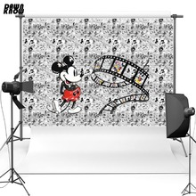 DAWNKNOW Cartoon Vinyl Photography Background For Baby Mickey Mouse Polyester Backdrops Children Photo Studio Props G044