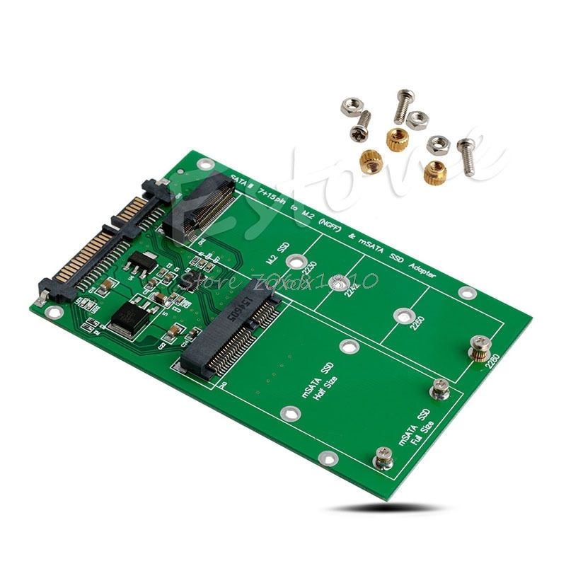 MSATA & M.2 (B-Key NGFF) 2in1 Multiple Sized SSD To SATA 3 III Adapter Converter Whosale&Dropship
