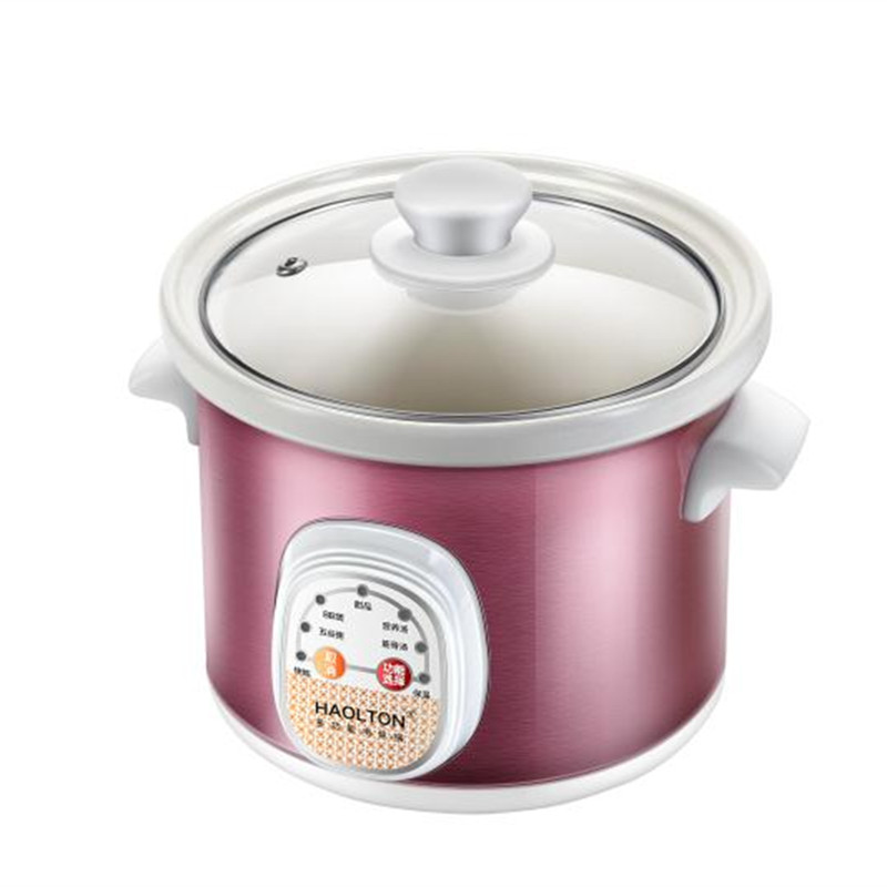 HAOLTON HLT-D25 Electric Cooker Fully Automatic Mini Ceramics Small Bb Purple Casserole Electric Porridge Artifact Soup Pot 220v 600w 1 2l portable multi cooker mini electric hot pot stainless steel inner electric cooker with steam lattice for students