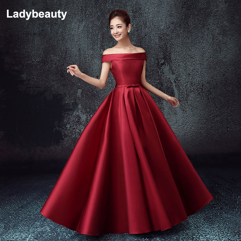Ladybeauty New Satin Boat Neck Off the shoulder A line Blue Long Evening Dresses Bridal Party