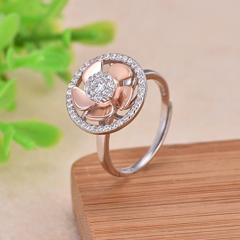 100 925 Sterling Silver Jewelry Sets Can Rotate Rose Gold Fan and Shiny Zircon Unique Earring Necklace for Women Jewelry in Jewelry Sets from Jewelry Accessories