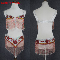 2018 Belly Dance Performance Clothing Women Dancewear Professional 2pcs Outfit For Oriental Beads Costume Belly Dance Bra+Belt