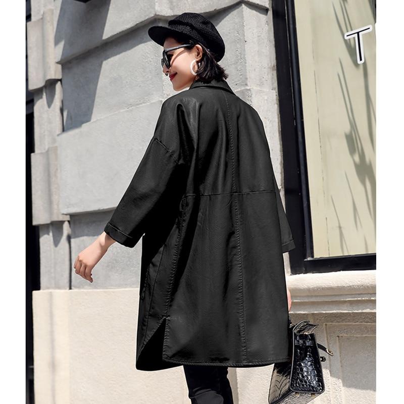 Femme Caramel 2018 Casual Cuir Manteau Coupe De Vestes Femmes W161 Coréenne Nouveau Pu Veste En Taille vent Automne Plus D'hiver Long Moyen Lâche black La Colour xXrFpx